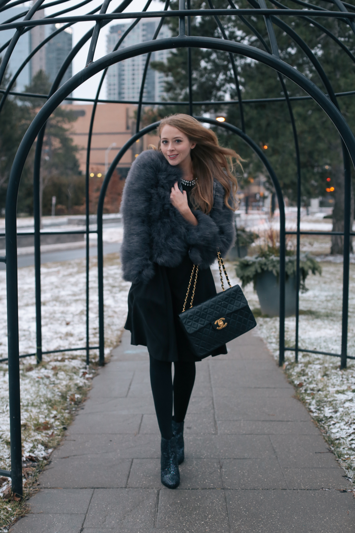 Chanel Jumbo bag feather coat (10 of 10)