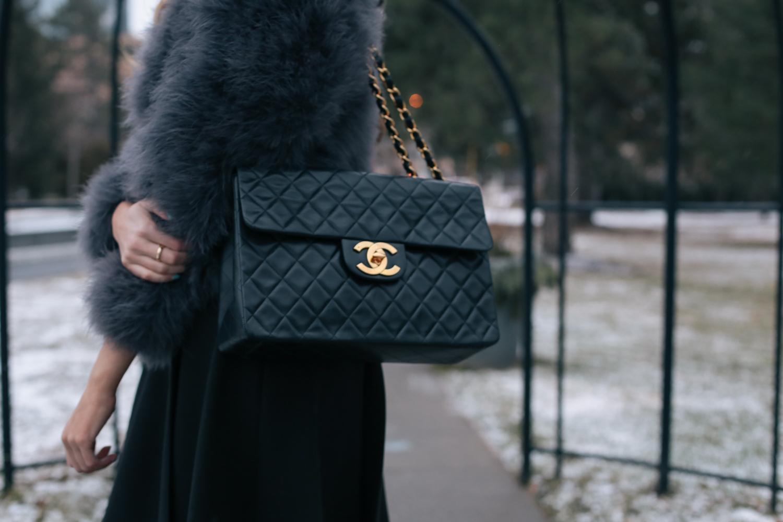 Chanel Jumbo bag feather coat (7 of 10)