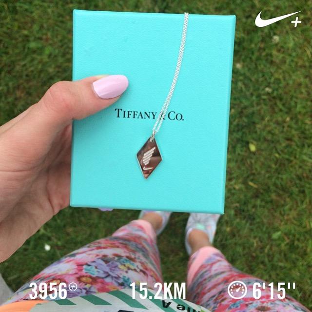 nike women's 15k toronto tiffany finisher necklace