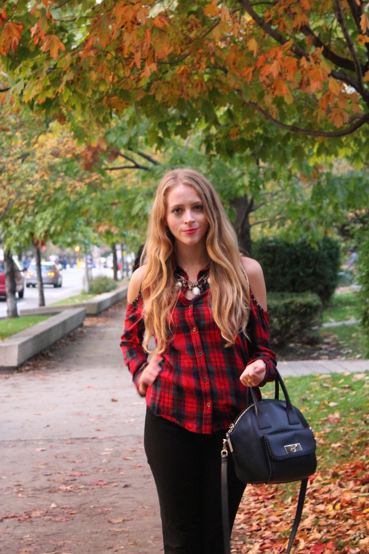autumn tartan blouse