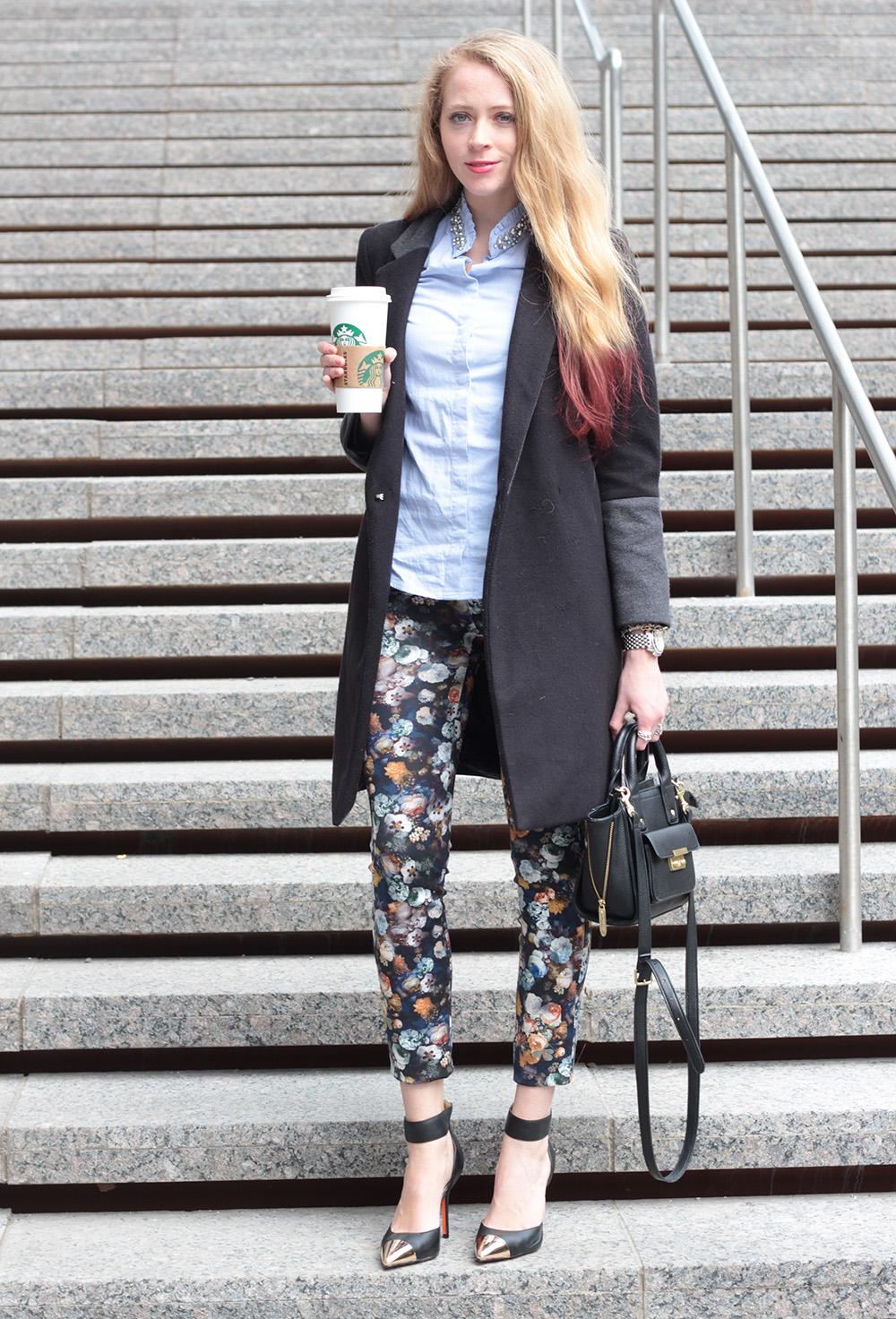 black coat floral leggings zara mini pashli target