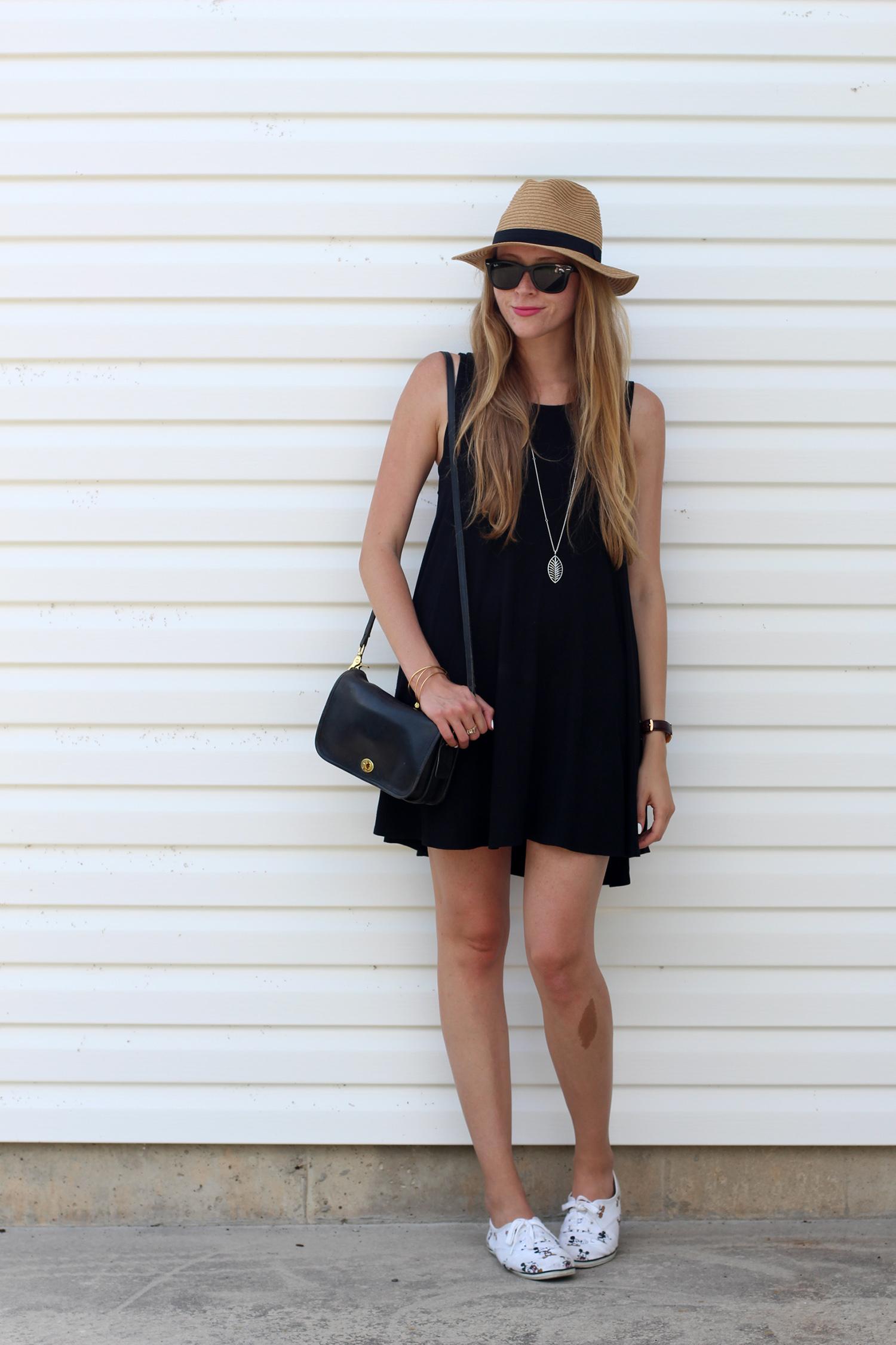 black summer dress fedora