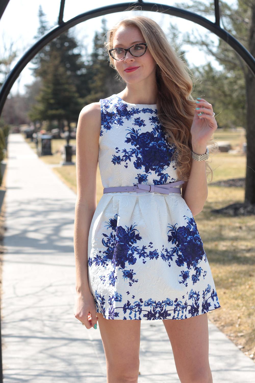 blue and white china dress
