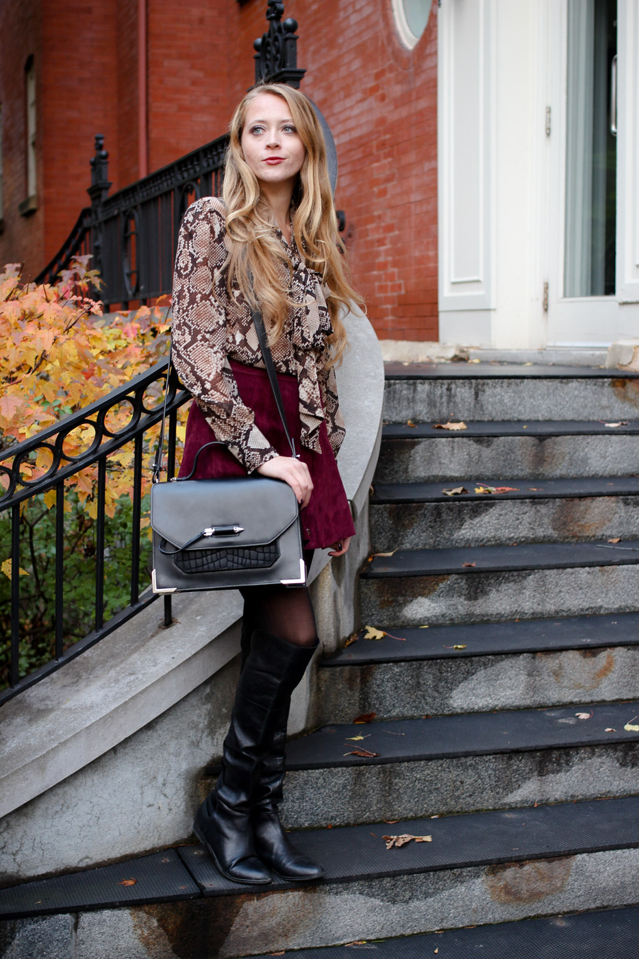 snakeskin blouse and suede skirt outfit