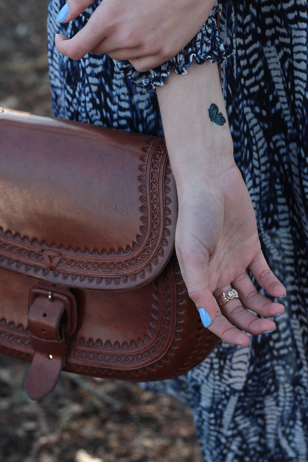 butterfly tattoo leather satchel