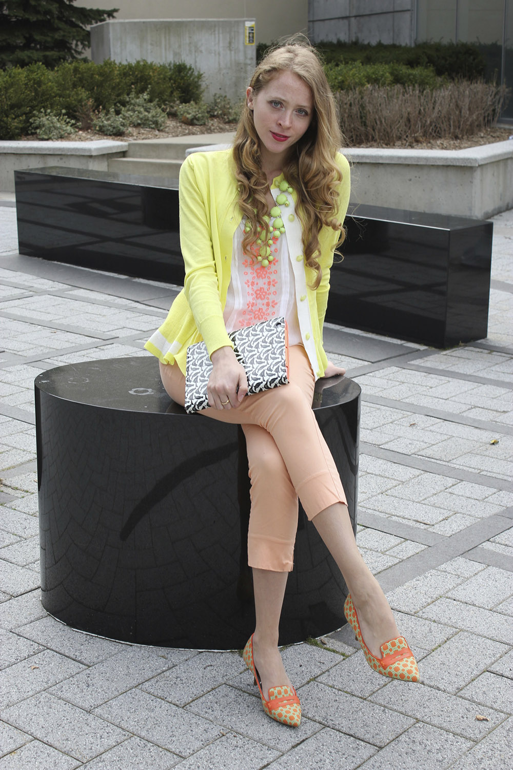 chartreuse cardigan peach pants