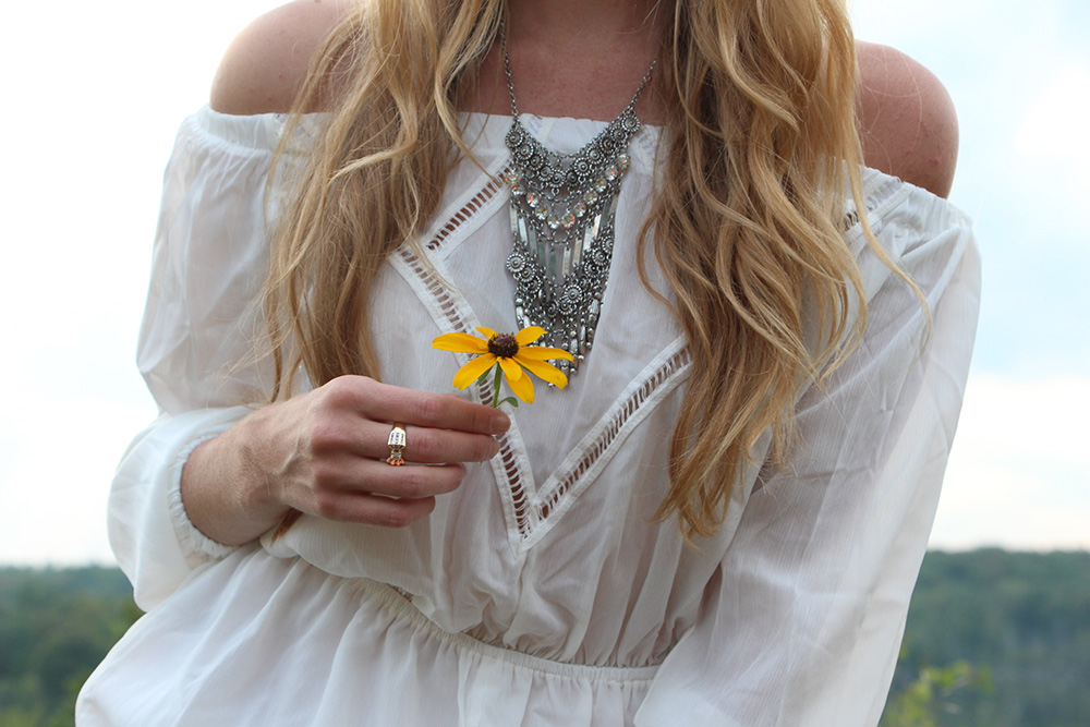 coin necklace off the shoulder dress
