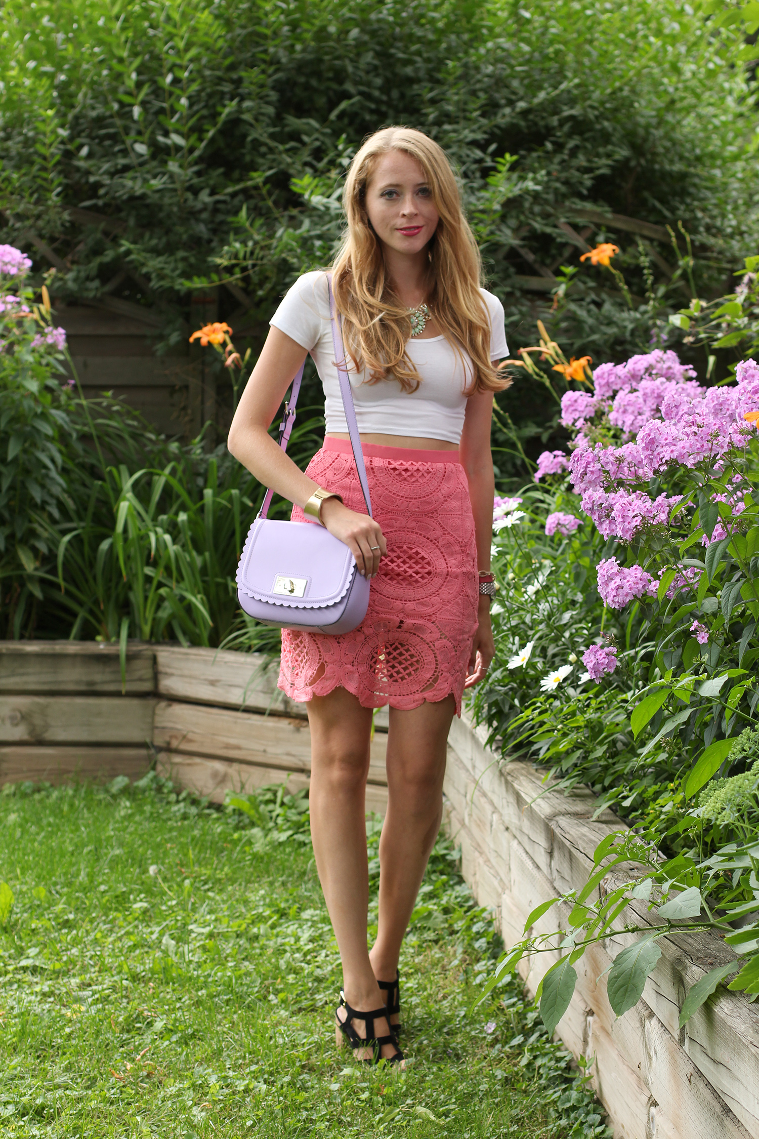 coral pink crochet skirt white crop top