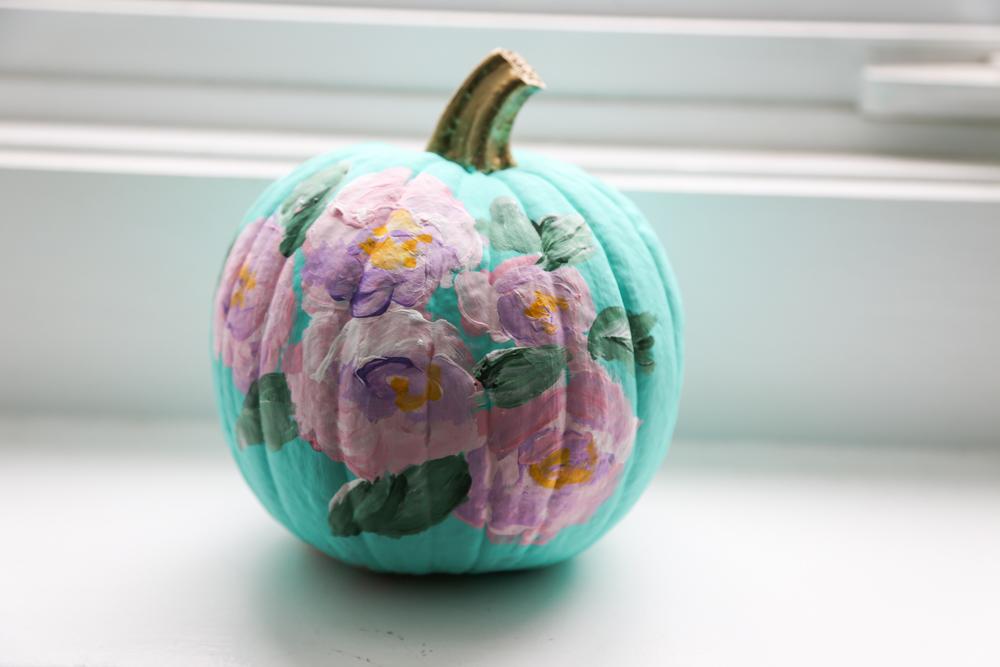 DIY Floral painted pumpkin