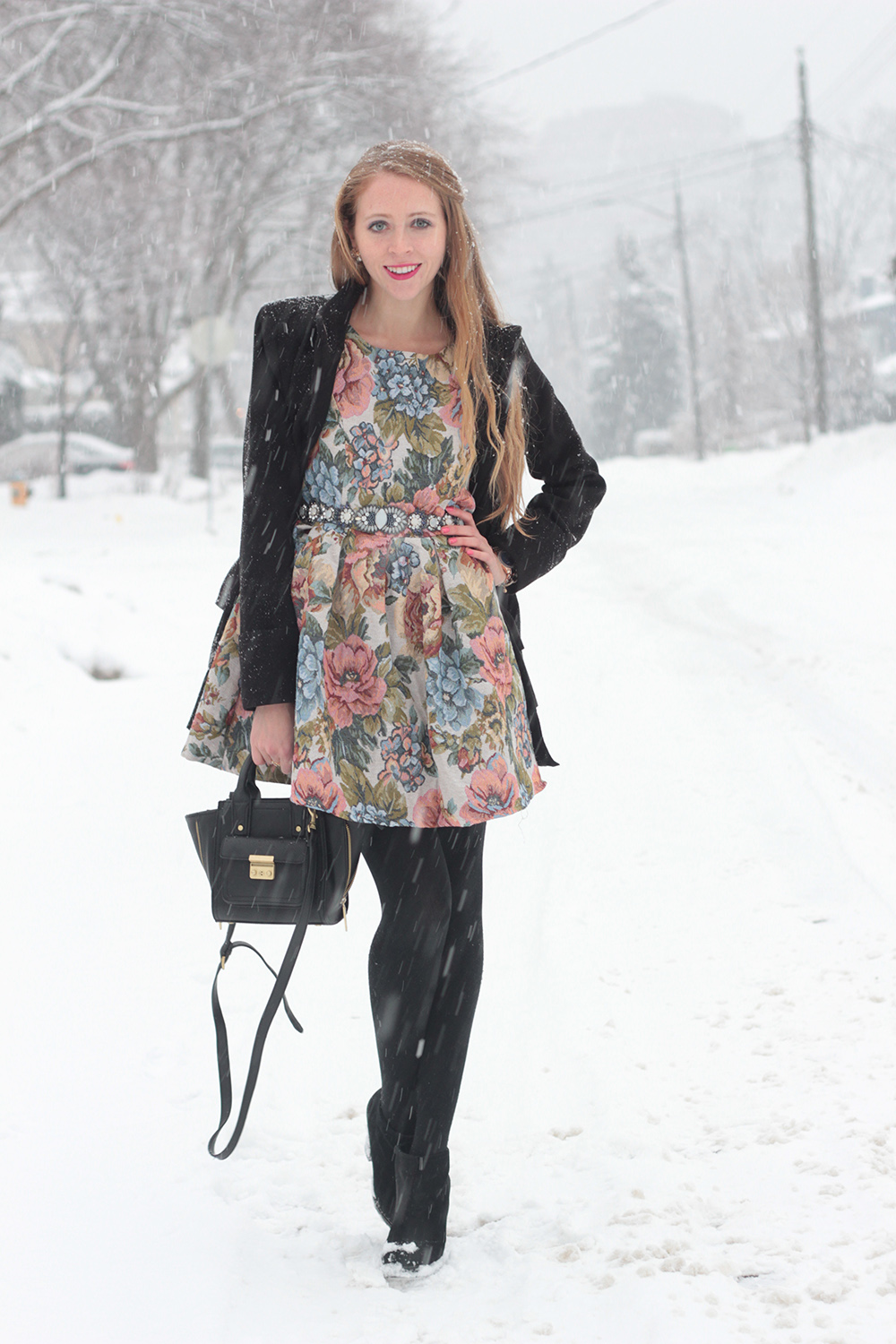 floral dress in winter