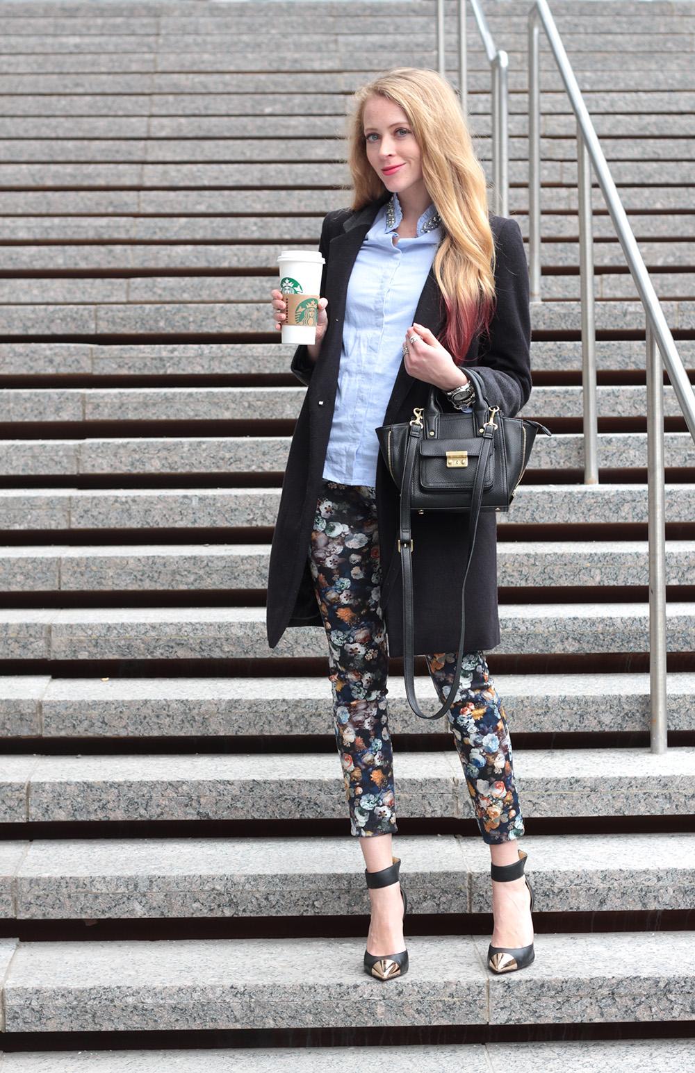 floral leggings zara black coat
