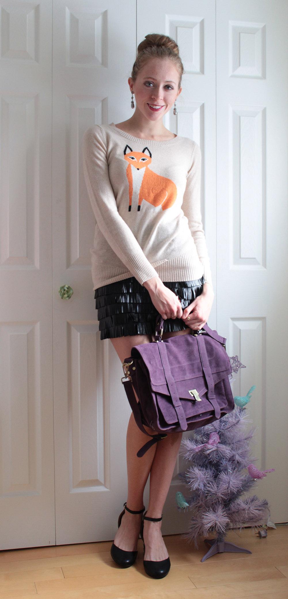 fox sweater fringe skirt
