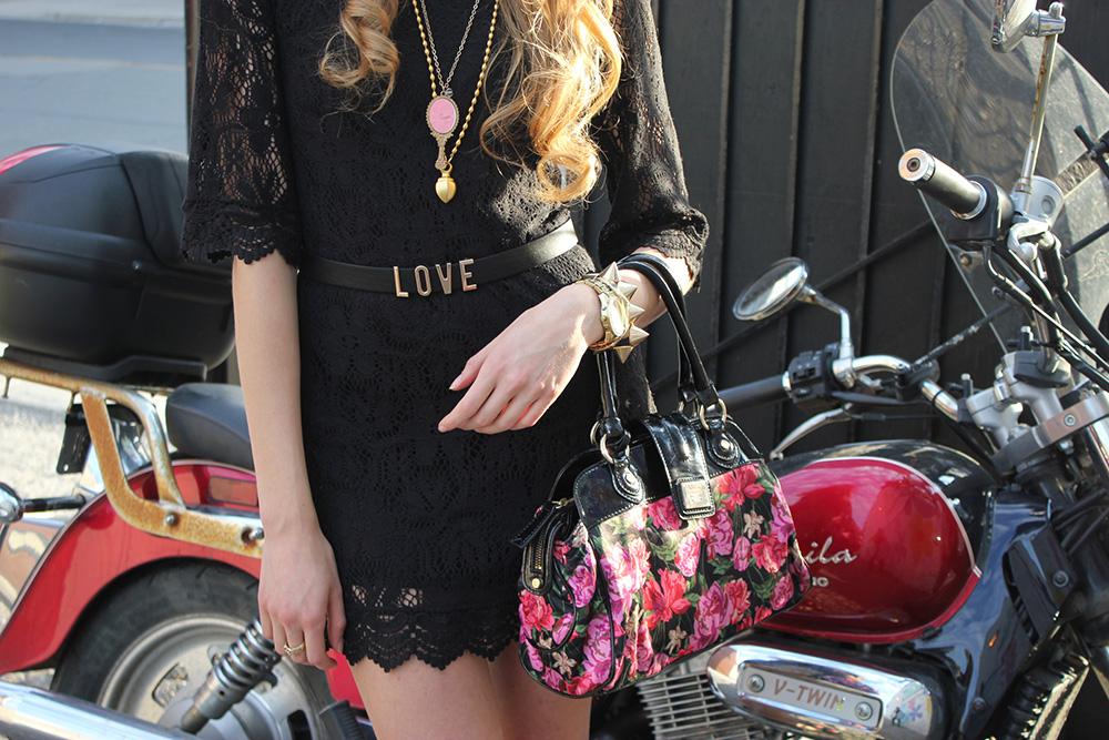 gold accessories black lace dress