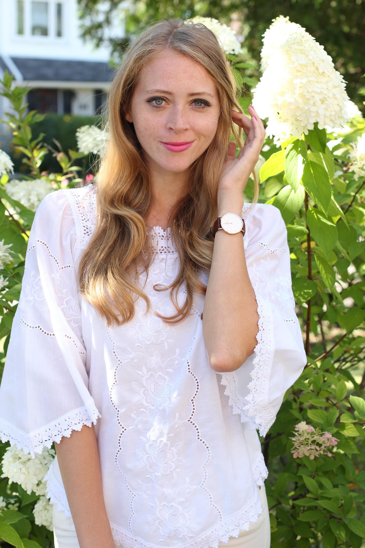 greek white blouse