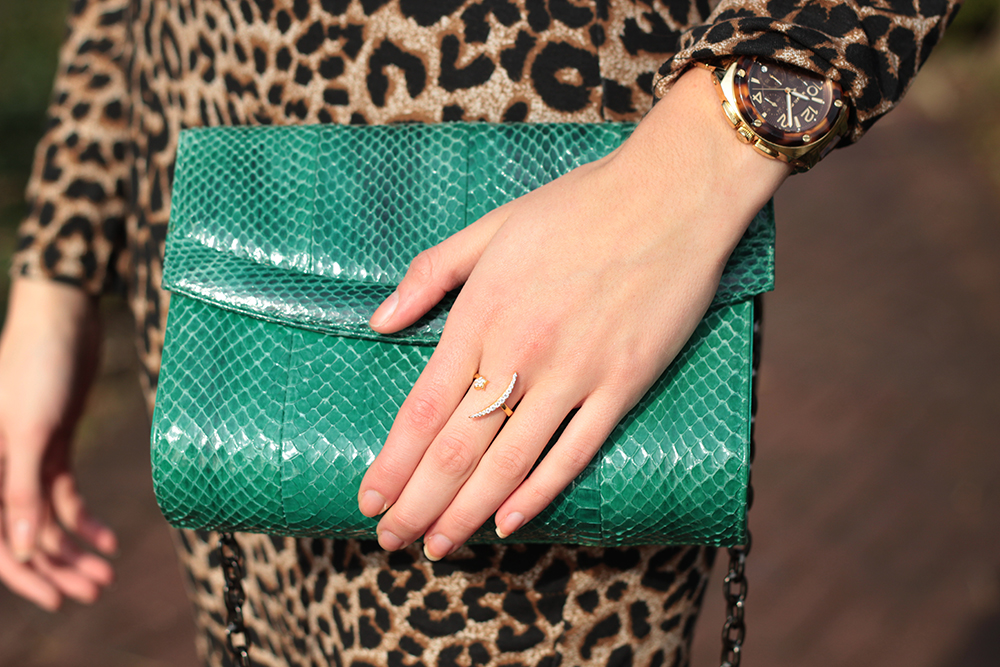 green snakeskin clutch