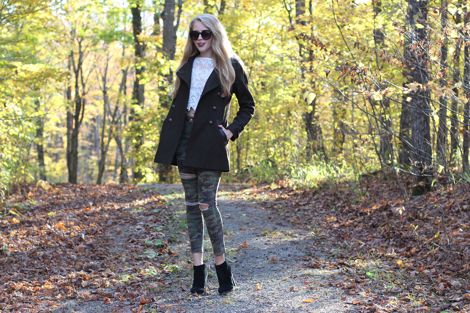 green wool coat camo jeans