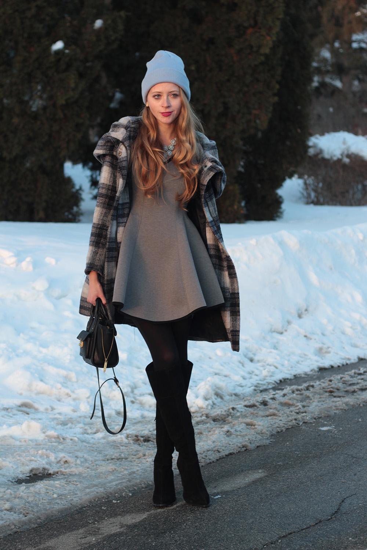 grey chicwish dress plaid coat
