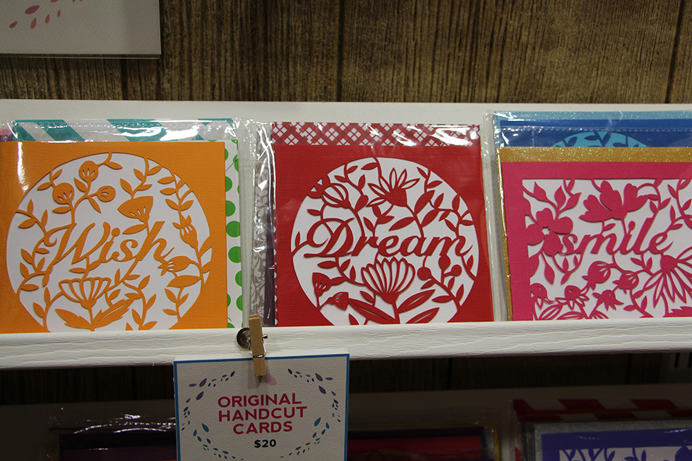 hand cut paper cards