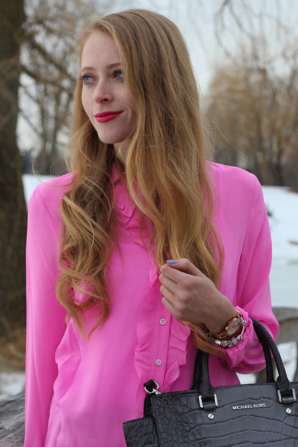 hot pink shirt and ysl rouge volupte lipstick