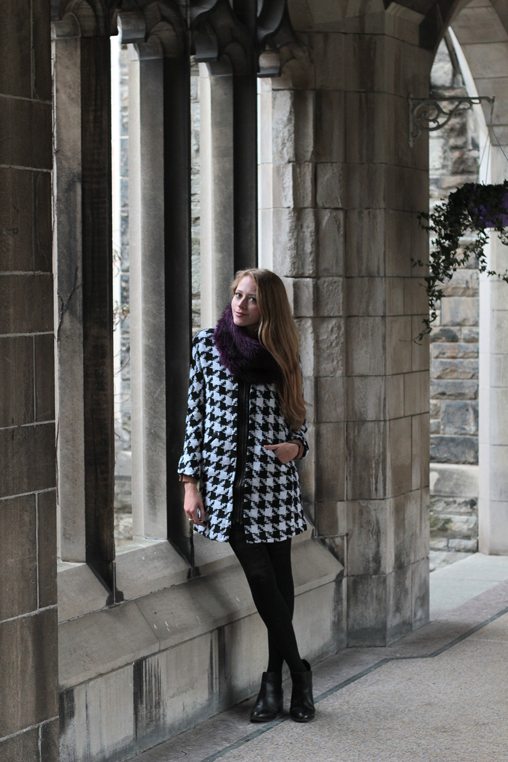 houndstooth coat purple faux fur