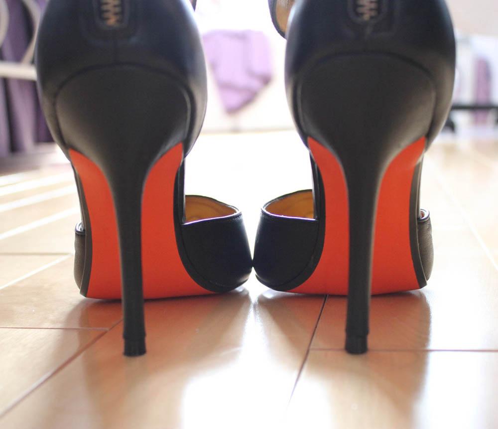 joe fresh orange sole heels