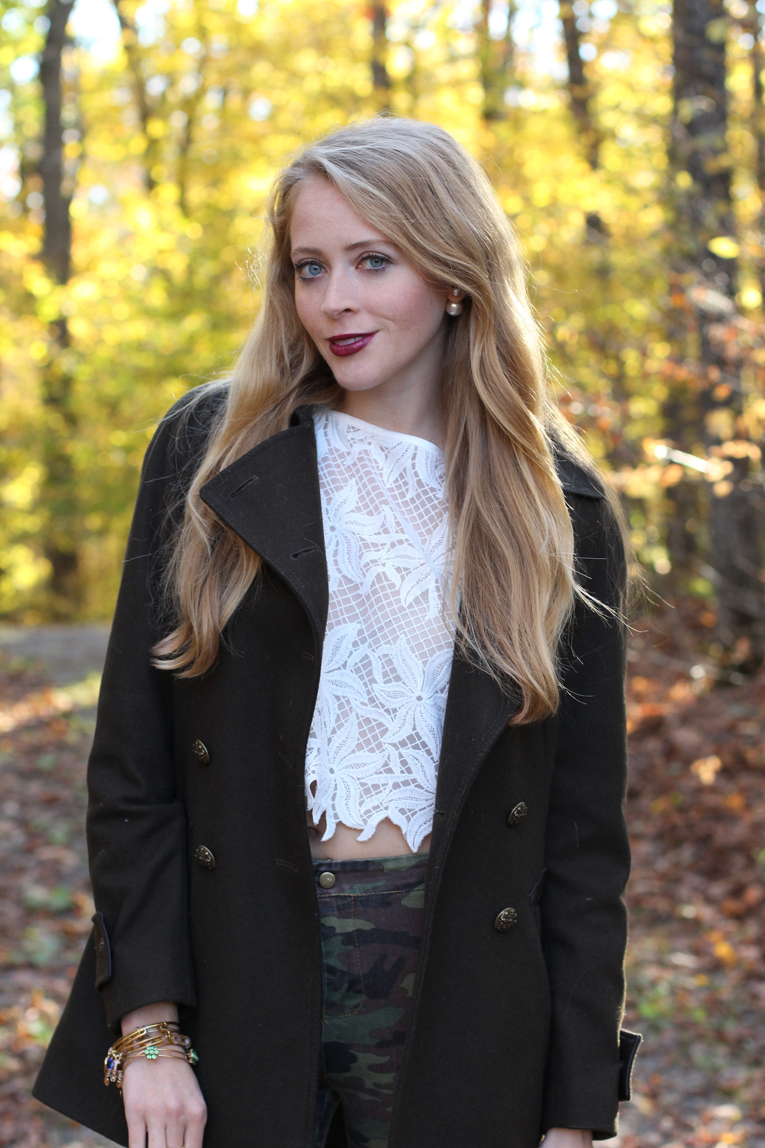 khaki coat lace crop top