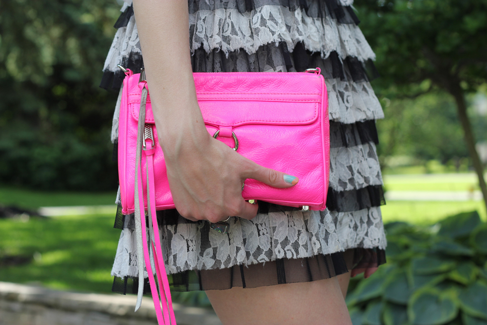 lace dress and neon rm mini mac