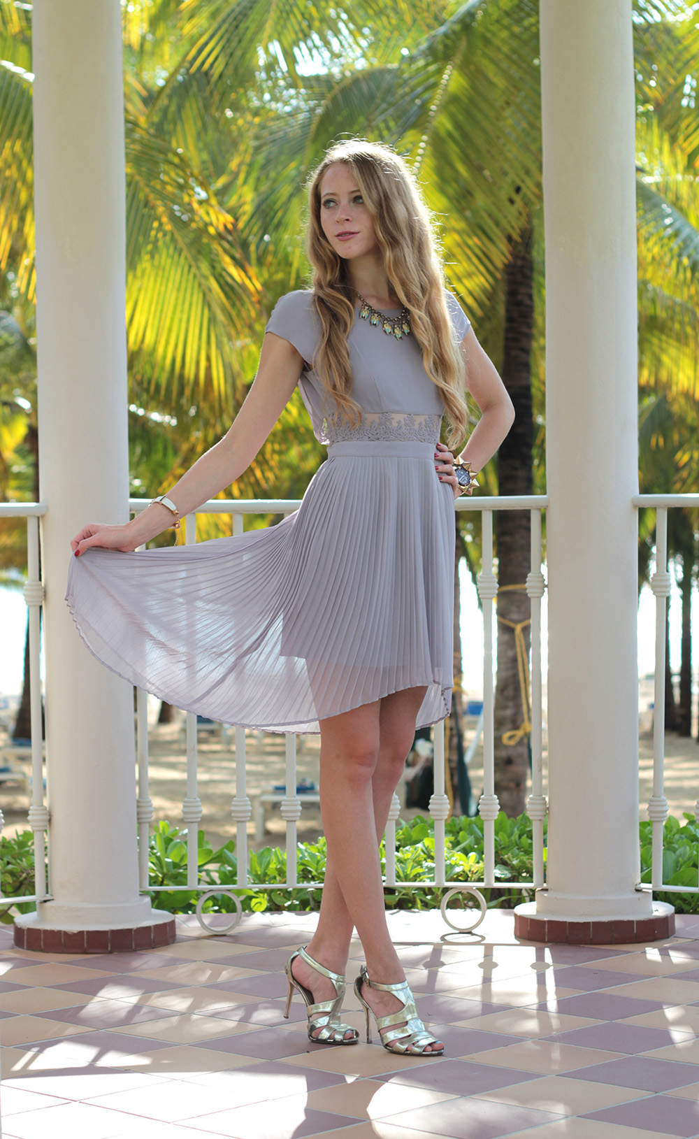 lavender pleated high low dress