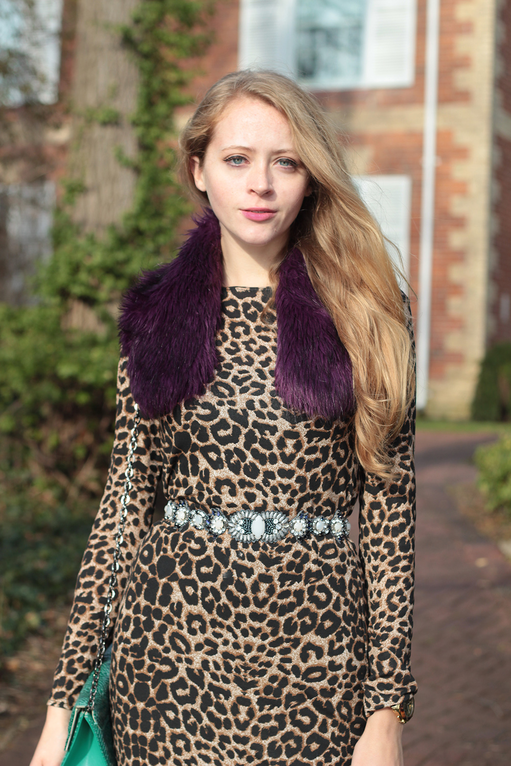 leopard dress purple scarf