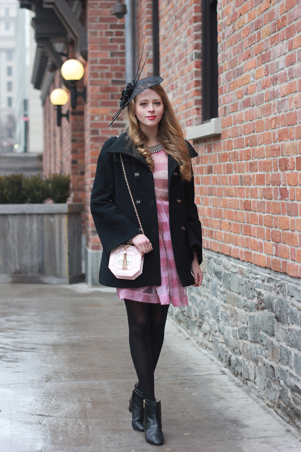 mackage coat pink striped dress