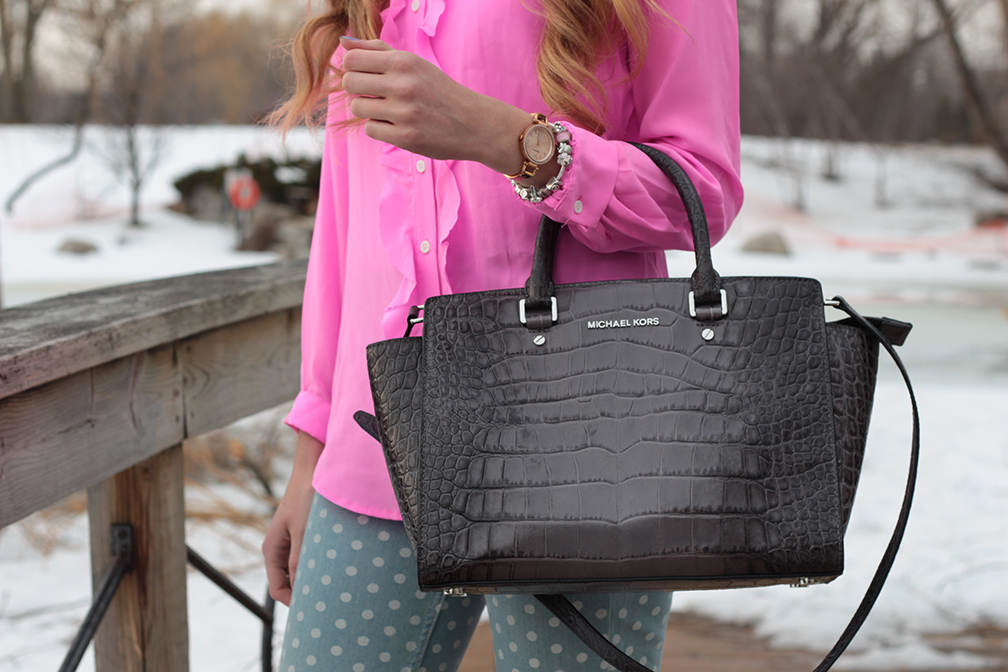 michael kors selma purse croc