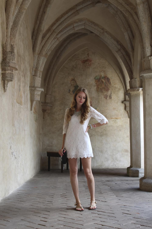 midieval arches white dress