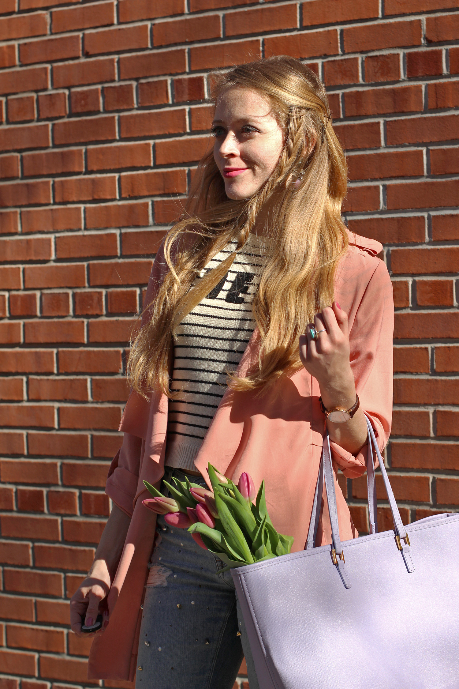 mini fishtail braid hairstyle pink trench coat