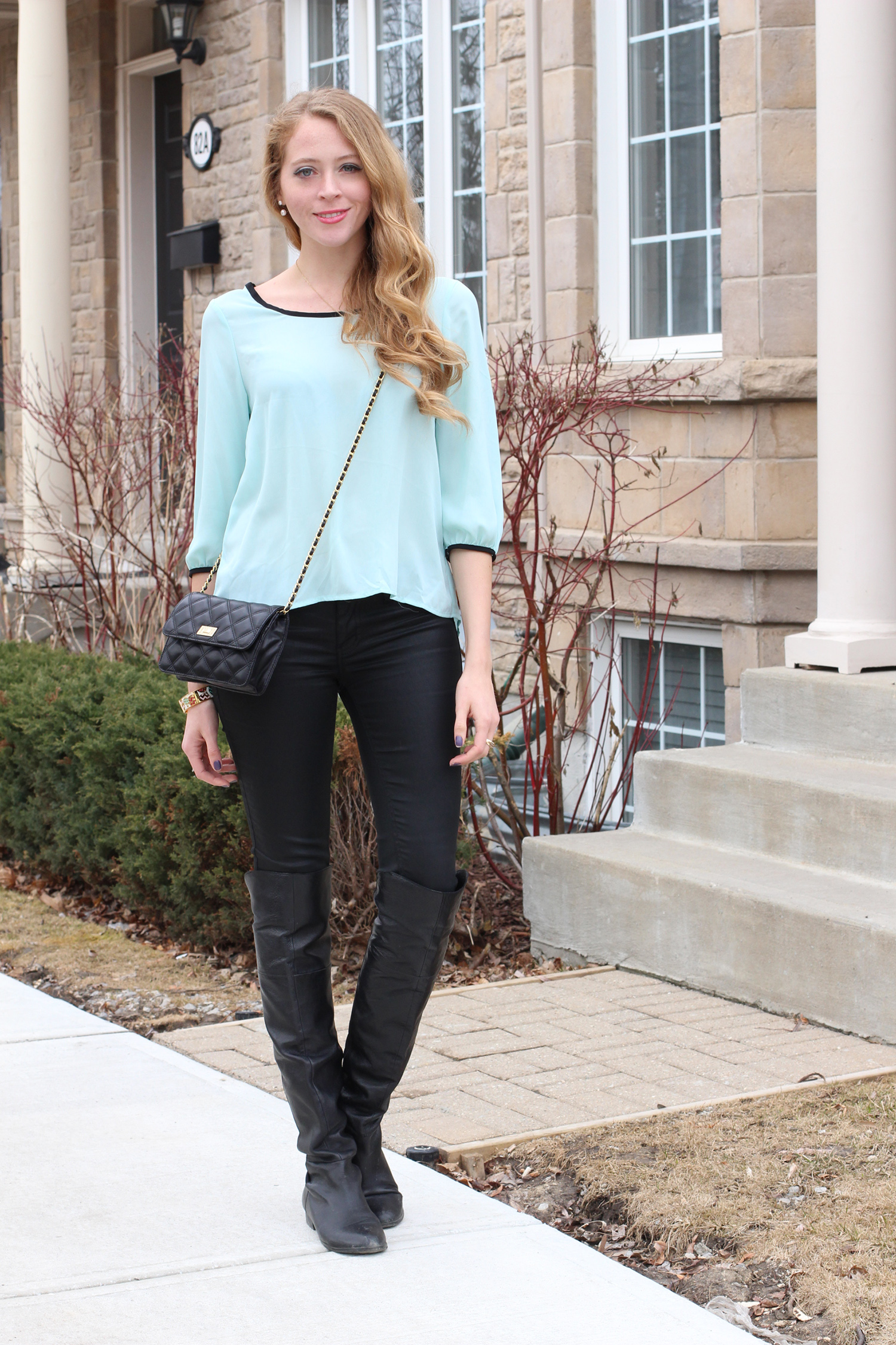 mint blouse over the knee boots