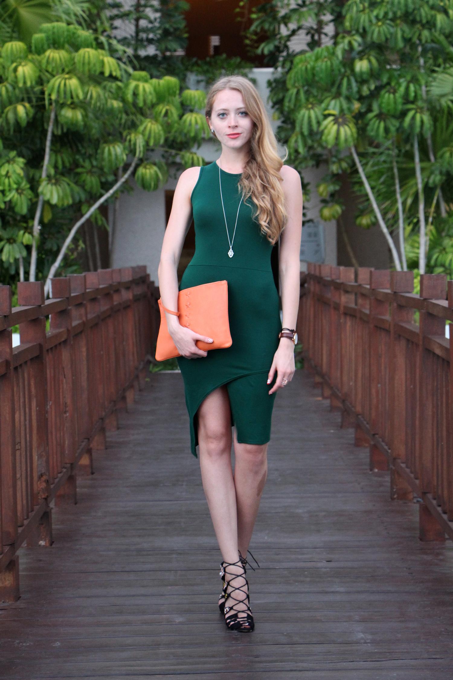 missguided green dress