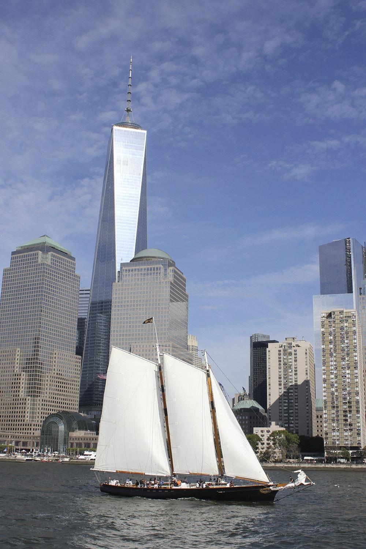 ny financial district and sailboat