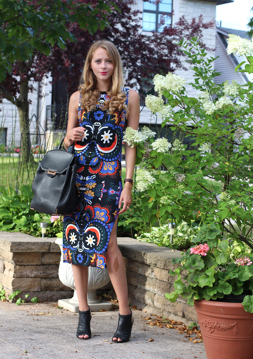 office outfit printed midi dress
