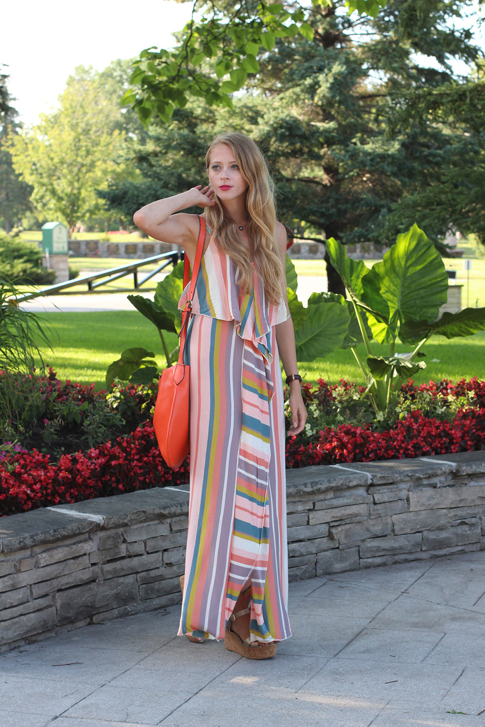 pastel striped maxi dress