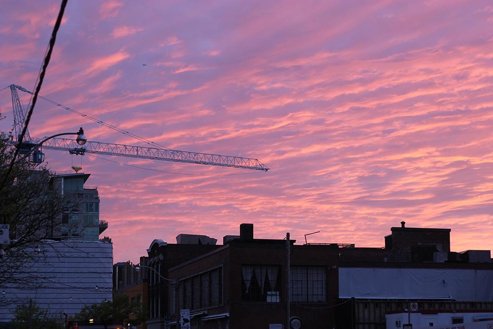 pink and orange sunset in toronto