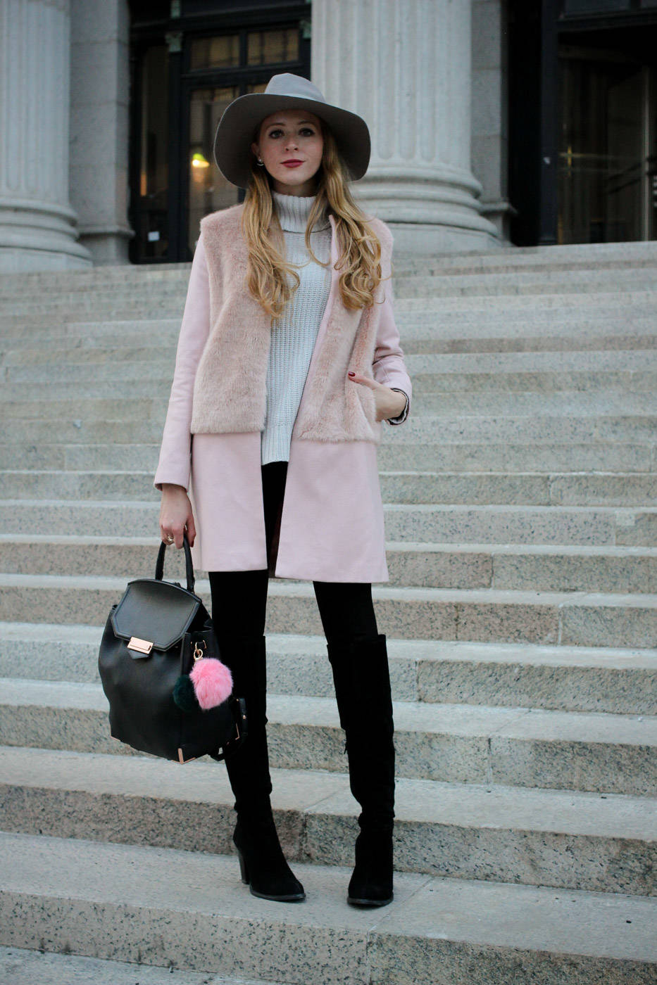 pink coat and grey hat (2 of 5)