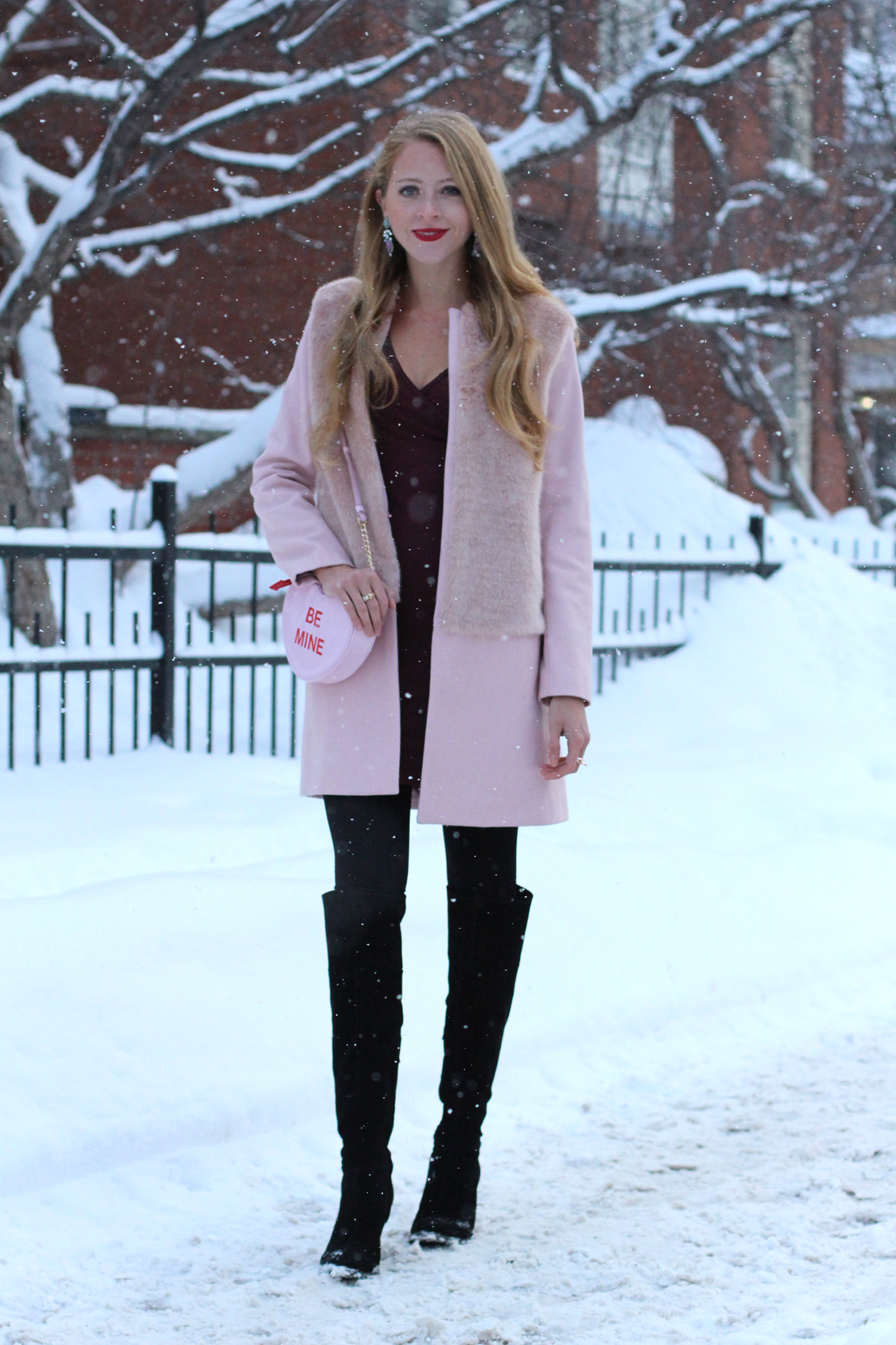 pink coat over the knee boots