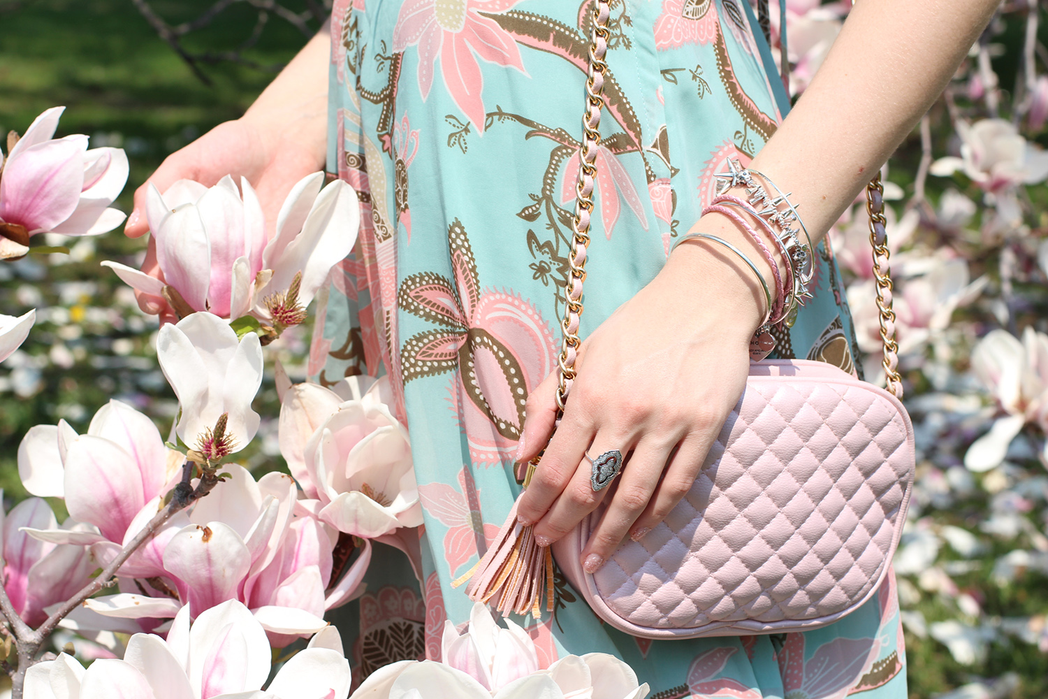 pink quilted purse paisley print