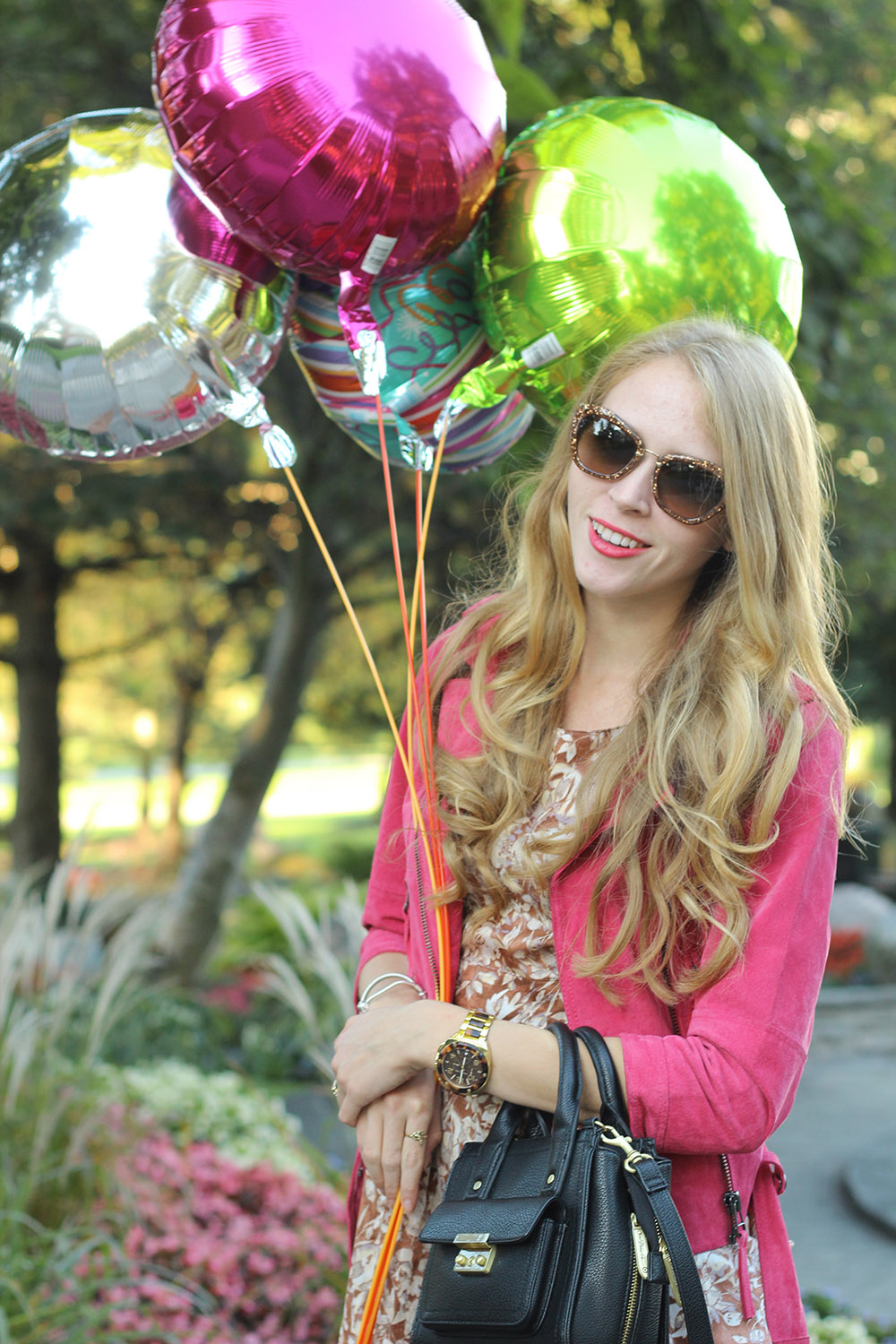 pink suede jacket and balloons