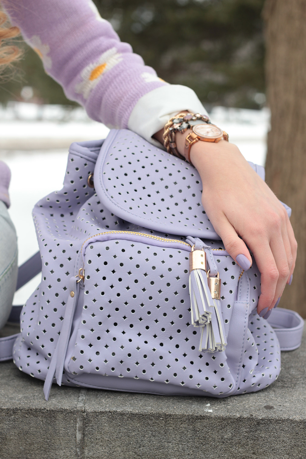 purple perforated chicwish backpack