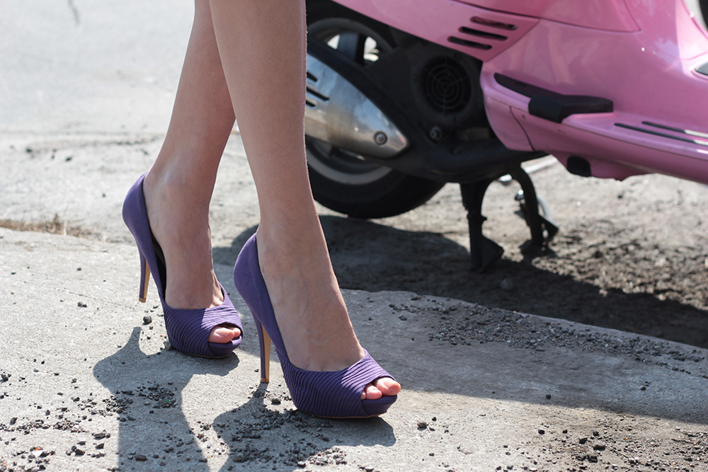 purple zara peep toe pumps