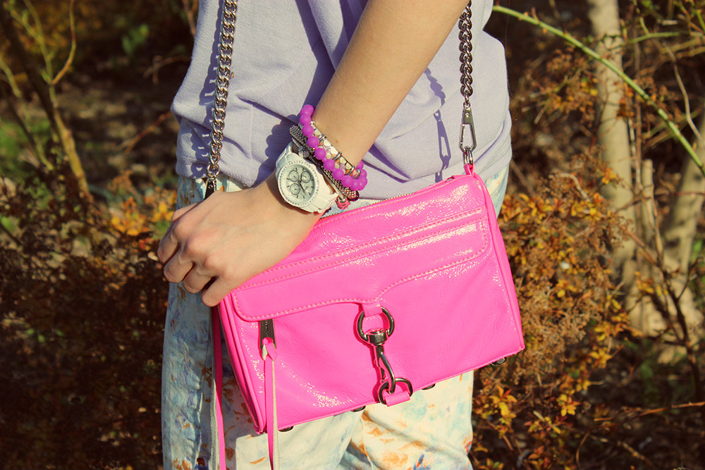 rebecca minkoff hot pink mini mac arm party