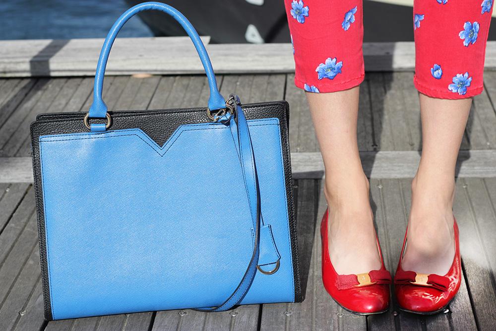 red ferragamo vara bow flats blue bag