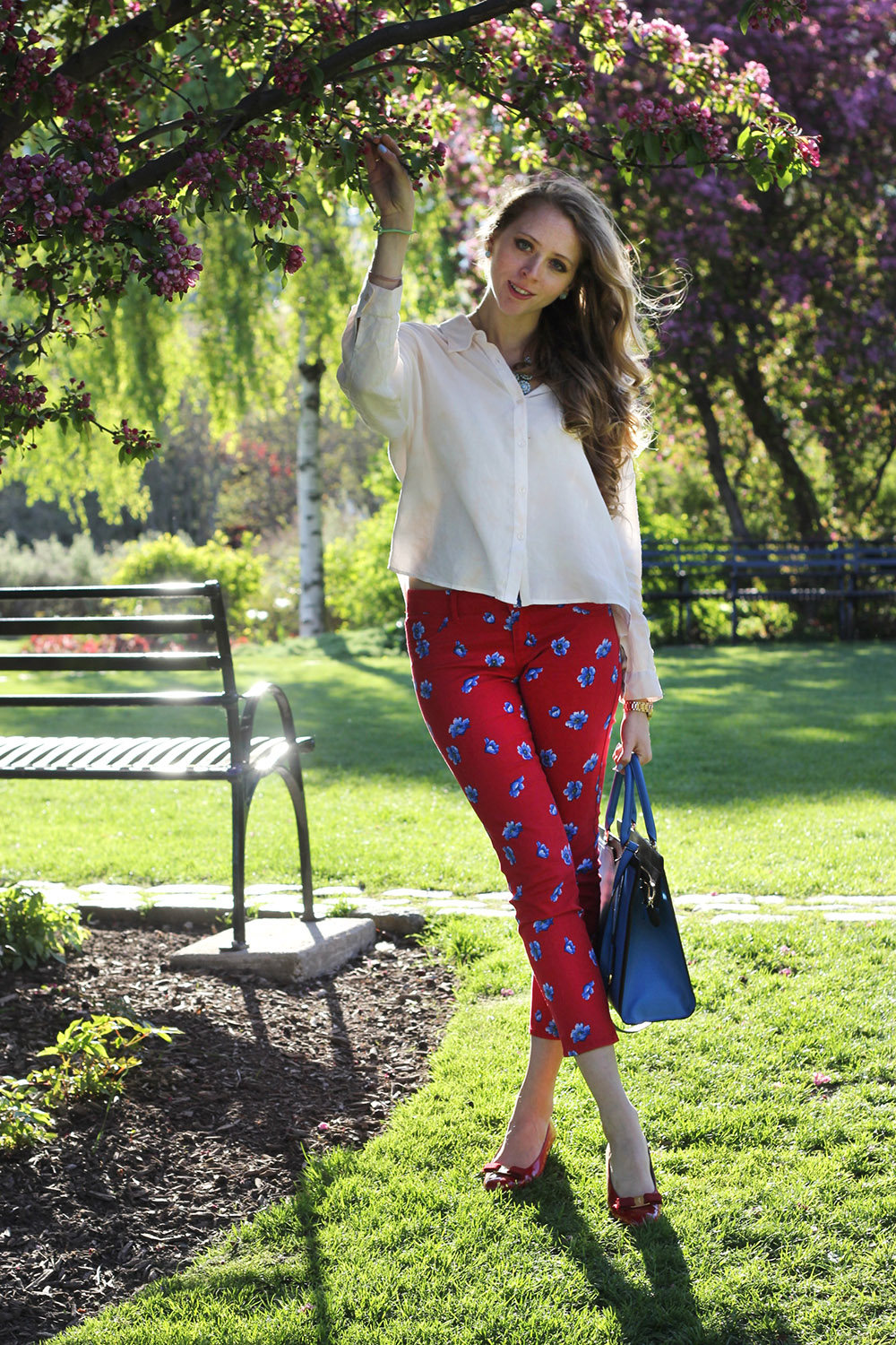 red floral pants blouse