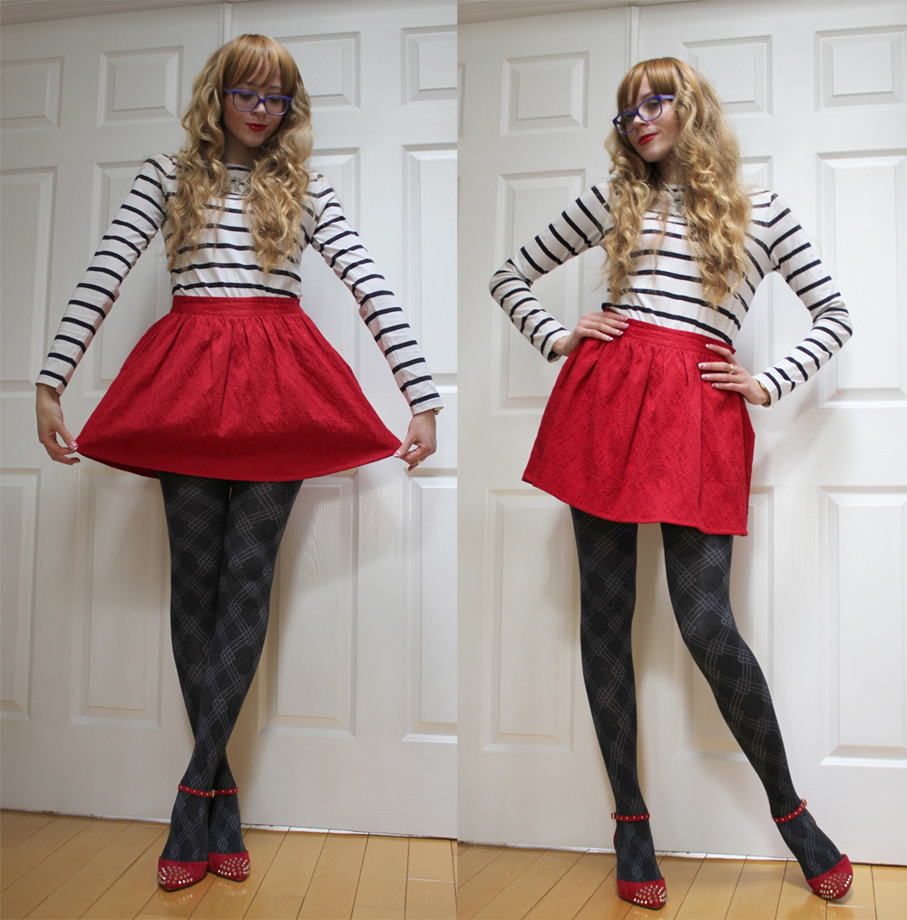 girl red skirt red shoes striped shirt