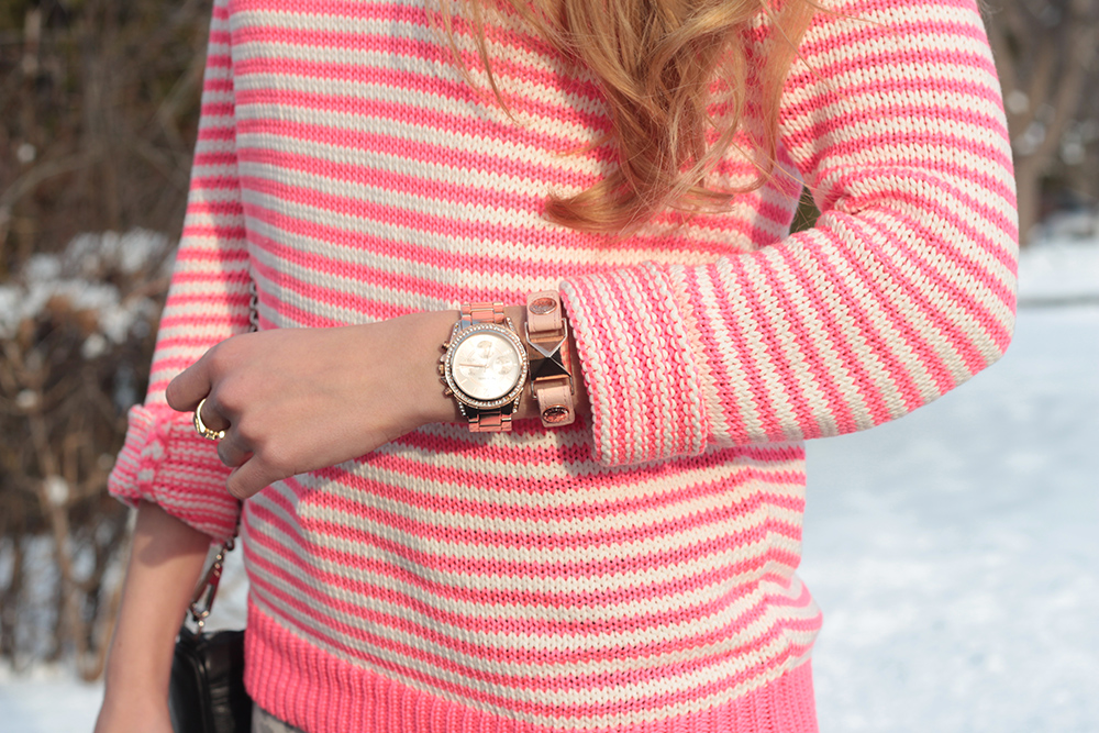 rosegold watch and bracelet